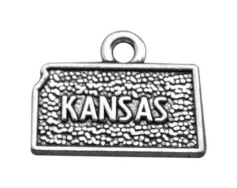 4 Kansas State Charms, Antique Silver Tone (1I-244)