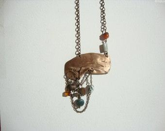 ethnic necklace bronze, semi-precious beads