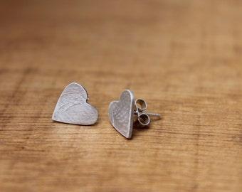 Textured silver heart ear studs