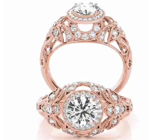 Rose gold art deco engagement ring vintage engagement ring for Deco maison rose gold