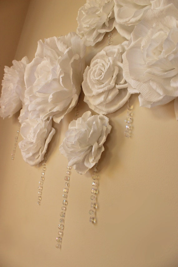 Crepe paper flower wall hanging crystals baby shower decor for Crepe paper wall flowers