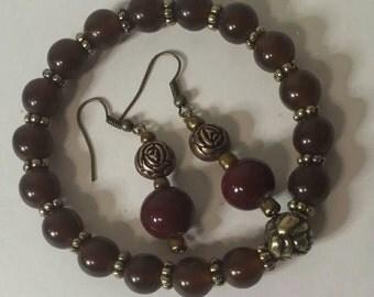 3 Pc beaded bracelet and earrings set, Beaded stretch bracelet,Beaded bracelet, Beaded earrings, Stretch bracelet, Bracelet and earrings set