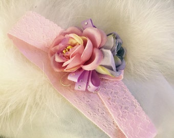 """Handcrafted """"Aiva"""" Flower Girl Lace Headband- Pink"""