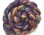 shetland, corriedale, mulberry silk roving for spinning, fibre - Dark Sansa - 100g, blue, black, gold