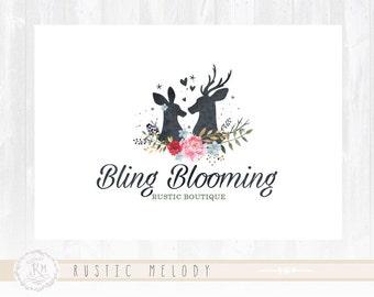 Floral Logo Rustic Logo Photography Logo  Deer Logo Boutique Logo Watercolor Logo Decor Logo Design Watermark