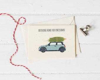Mini Cooper with Christmas tree- Christmas greetings card- choose your colour