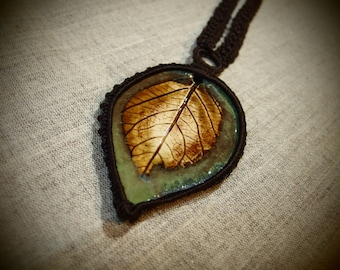 LEAF-Ceramic Crochet Necklace With Leaf