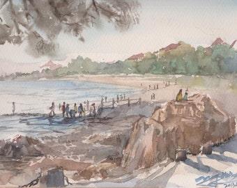 BEACH - original watercolor painting 12X9, landscape