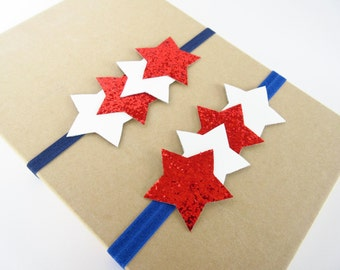 Fourth of July star headband, July 4th baby toddler girls headband, glitter star headband, team USA, patriotic, red white and  blue headband