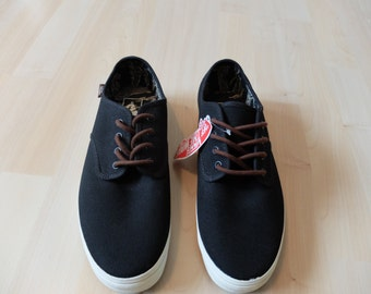 Mens size 8.5 Black and White Boat Shoe Style Vans **Literally Never Worn**