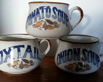 Vintage Soup Mugs (set 3)