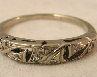 Vintage Antique 14K White Gold Diamond Wedding Anniversary Band Ring, from the Art Deco Era, Stackable Ring