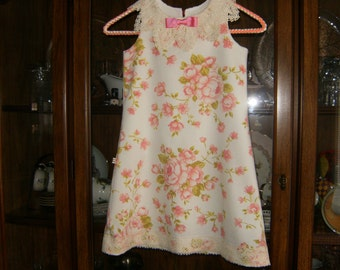 Girl's Dress 5T, Vintage Dress 5T, Lace Collar 5T Dress, Shabby Chic Dress 5T, Upcycled 5T Dress, Girl's Dresses, Girl's Pink Dress