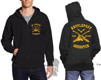 CAPTAIN - Huffle Quidditch team Captain Yellow print printed on Black Zipper Hoodie