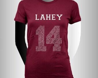 Lahey 14 Quote White print beacon hills lacrosse Women tee Maroon or Black