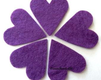 25  Violet Felt Hearts