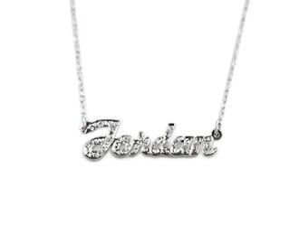 Hand Cut Script CZ Name Necklace / 24MM X 8MM / 5008