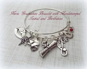 Nurse Graduation Gift, RN Graduation Gift, Nurses Jewelry, Personalized Gift for Nurse, Initial Jewelry,  Caduceus