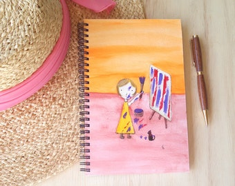 Hand Painted Spiral Journal; Original Art on Wire Bound Blank Notebook; Writing Journal, Small Sketchbook; Girl Painting