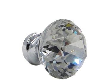 "Crystal Clear Glass Diamond Shaped, Zinc Base  1"", Drawer, Door, Cabinet or Dresser Knob Pull - C3"