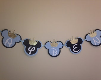 Prince Mickey Banner, Mickey Mouse Crown Banner, Baby Shower Banner, Mickey Mouse Birthday Banner