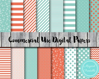 Nautical Digital Papers, Ahoy, Mint and Coral Digital Paper, Commercial Use, Nautical Scrapbook Digital Papers, Digital Background, DP26