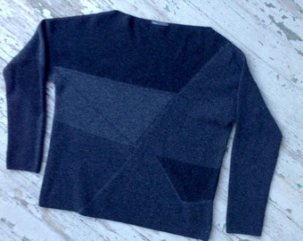 Vince. brand Cashmere/Wool Boatneck Sweater // Black + Gray Colorblock Sweater // Boatneck Cashmere Sweater // Large