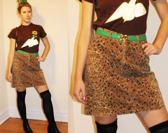 90s Vintage Guess by Marciano Denim Leopard Skirt