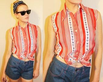 SALE 70s Vintage Red White Blue Sleeveless Sailor Blouse