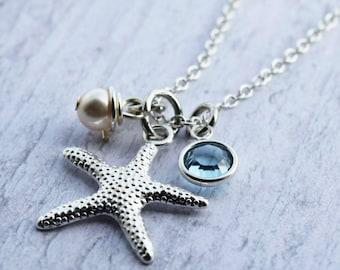 starfish necklace, starfish jewelry, beach necklace, beach theme necklace, beach theme jewelry, beach jewelry, beach charm necklace