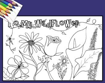 To My Wildflower  Coloring Greeting Card for Adults or Kids