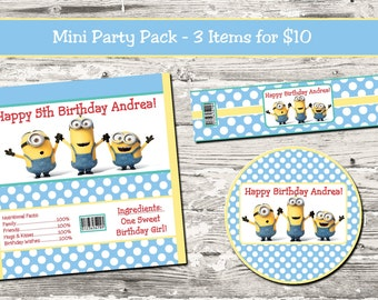 Minions Birthday Party Mini Party Pack Candy Wrapper Water Bottle Label Cupcake Topper Digital Printable
