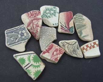 10 English Sea Pottery Shards  - Collector or Mosaic -  Artifact..(004)