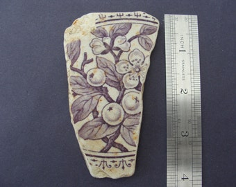 English Sea Pottery Berries & Flowers - Collector or Mosaic -  Artifact..