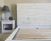 Custom reclaimed wood headboard