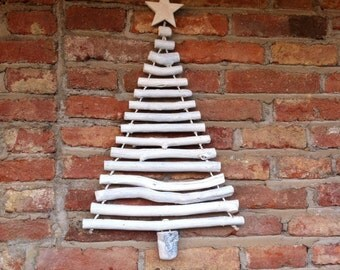 Small white driftwood  Christmas tree