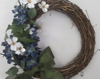 Small Blue and Green Grapevine Wreath