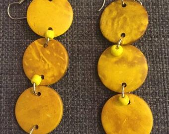 Yellow Wooden Dangle Earrings