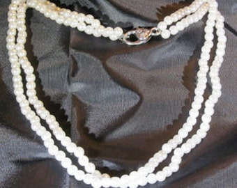 Dual Strand White Bead Necklace