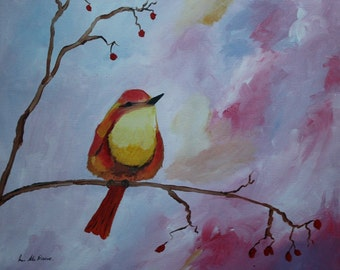 Song bird on branch, acrylic on canvas painting