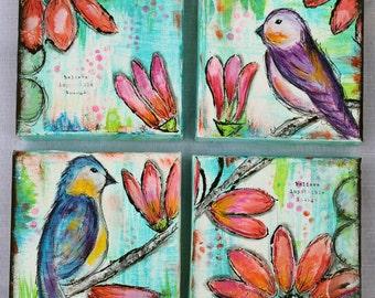 Mixed Media Flowers & Birds Set