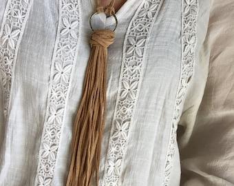 Long Leather Fringe Necklace, Boho Style, Tassel Necklace, Western Necklace, Jewelry