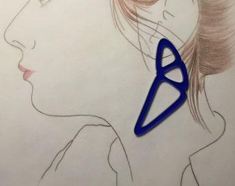Laser cut earrings, blue plexiglass