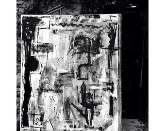 Beautiful black and white abstract painting