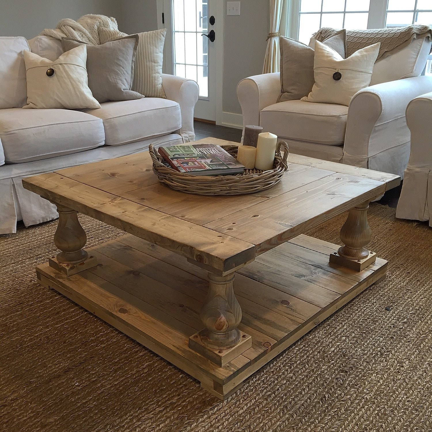 Rustic farmhouse cottage baluster coffee table Farmhouse coffee tables
