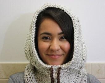 Knit Hood, Hooded Scarf, Crochet Cowl, Hood Scarf, Crochet Hood Scarf, Knit Cowl Color : Aspen Tweed