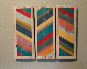 Colorful chevron on reclaimed lumber