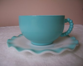 Hazel Atlas Crinoline Ripple Turquoise and White Cup and Saucer with Beaded Handle