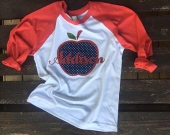 Name and fabric apple 3/4 baseball kids tshirt