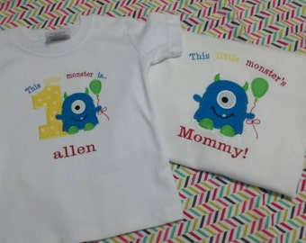 Mommy and Me Appliqué Monster Birthday Shirt